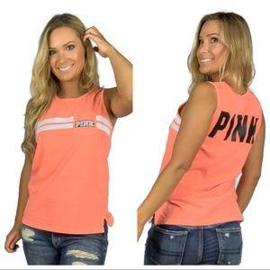 PINK Victoria's Secret Coral Varsity Stripe Tank